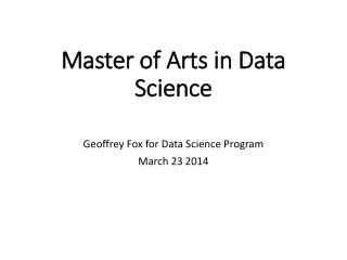 Master of Arts in Data Science