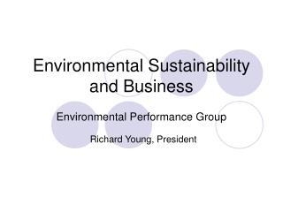 Environmental Sustainability and Business