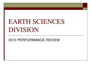 EARTH SCIENCES DIVISION