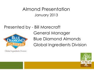 Almond Presentation January 2013 Presented by - Bill Morecraft 			 General Manager