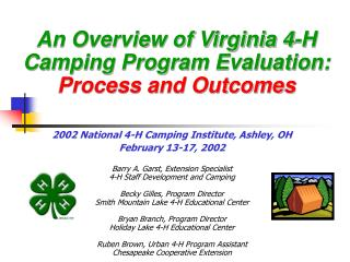 An Overview of Virginia 4-H Camping Program Evaluation:  Process and Outcomes
