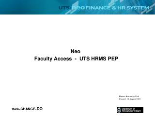 Neo  Faculty Access  -  UTS HRMS PEP