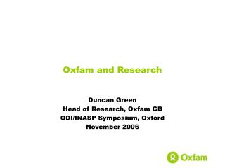 Oxfam and Research