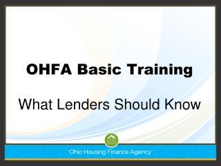 OHFA Basic Training