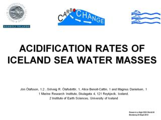 ACIDIFICATION RATES OF ICELAND SEA WATER MASSES