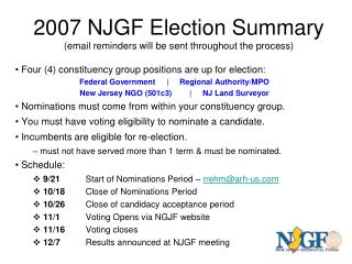 2007 NJGF Election Summary (email reminders will be sent throughout the process)