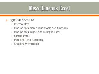 Miscellaneous Excel
