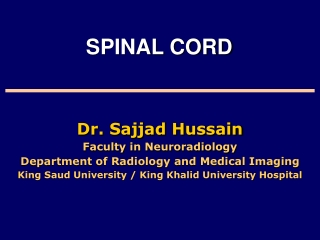 Dr. Sajjad Hussain Faculty in Neuroradiology Department of Radiology and Medical Imaging