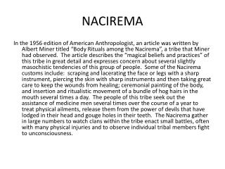 the mysterious fall of nacirema Engleza - download as pdf neil b 76 unit 2 culture and social structures another time the mysterious fall of nacirema there seems to be little doubt that the.