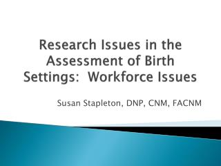 Research Issues in the Assessment of Birth Settings:  Workforce Issues