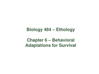 Biology 484 – Ethology Chapter 6 – Behavioral Adaptations for Survival
