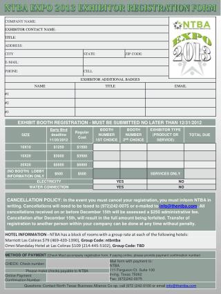 NTBA EXPO 2013 EXHIBITOR REGISTRATION  FORM