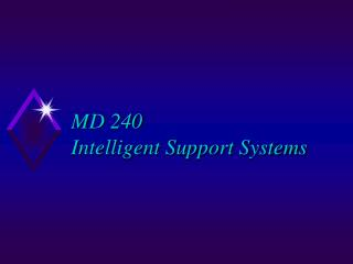 MD 240 Intelligent Support Systems