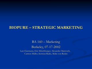 BIOPURE – STRATEGIC MARKETING