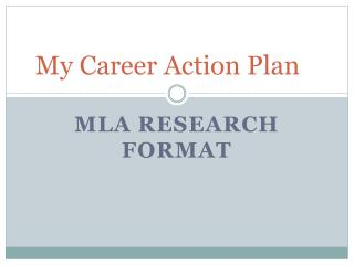 My Career Action Plan