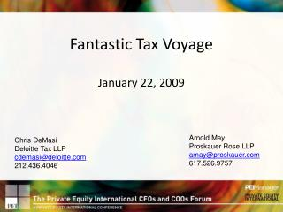Fantastic Tax Voyage January 22, 2009