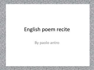 English poem recite