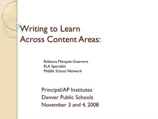 Writing to Learn  Across Content Areas: