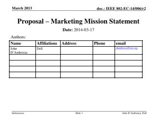 Proposal – Marketing Mission Statement