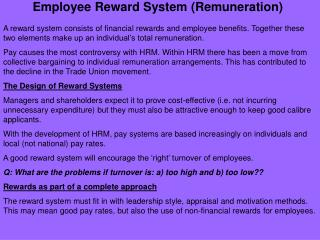 Employee Reward System (Remuneration)