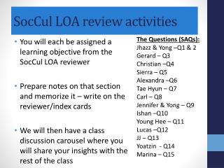 SocCul  LOA review activities