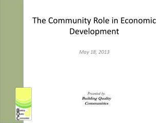 The Community Role in Economic  Development