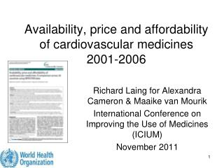 Availability, price and affordability of cardiovascular medicines  2001-2006
