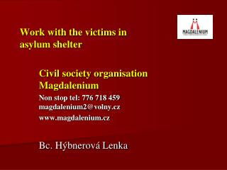 Work with the victims in  asylum shelter