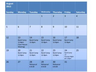 Marching Band Calendar