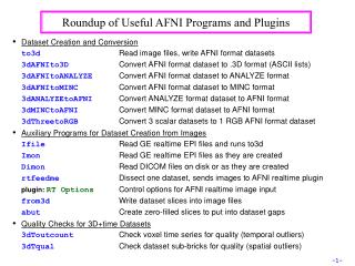 Roundup of Useful AFNI Programs and Plugins
