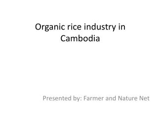 Organic rice industry in Cambodia