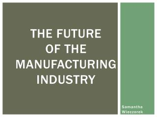 The Future  of the Manufacturing Industry