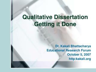 Qualitative Dissertation Getting it Done