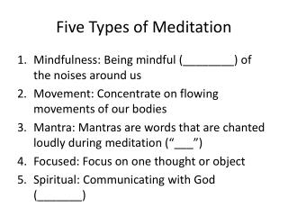 Five Types of Meditation