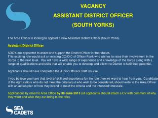 VACANCY  ASSISTANT DISTRICT OFFICER  (SOUTH YORKS)
