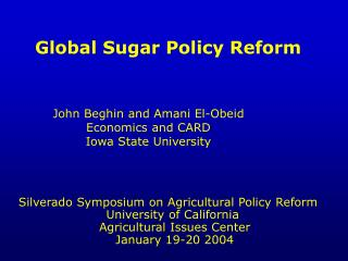 Global Sugar Policy Reform