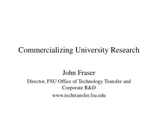 Commercializing University Research