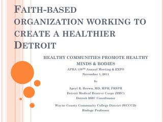 Faith-based organization working to create a healthier Detroit