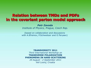 Relation between TMDs and PDFs in the covariant  parton  model approach