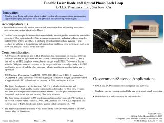 Tunable Laser Diode and Optical Phase-Lock Loop  E-TEK Dynamics, Inc., San Jose, CA