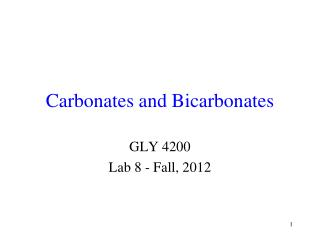 Carbonates and Bicarbonates