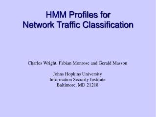 HMM Profiles for  Network Traffic Classification