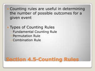 Section 4.5-Counting Rules