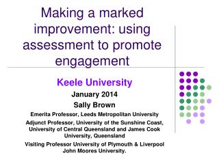 Making a marked improvement: using assessment to promote engagement