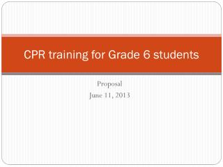CPR training for Grade 6 students