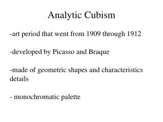 Analytic Cubism