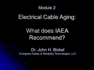 Electrical Cable Aging:  What does IAEA Recommend?