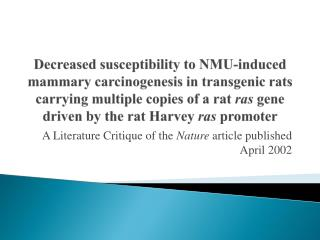 A Literature Critique of the Nature article published April 2002