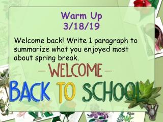 Warm Up 3/18/19