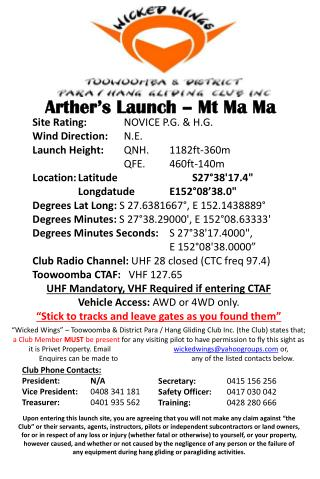 Arther's  Launch – Mt Ma Ma